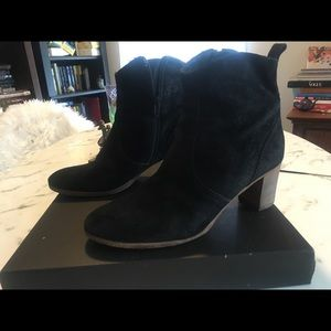 J Crew Leather Ankle booties boots black wood heel